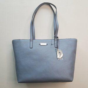 DKNY Women's Leather Medium Logo Tote CHM Blue R92